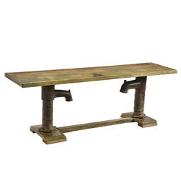 Sale 9216S - Lot 49 - A rustic timber bench seat raised on vintage metal water pumps, Height 54cm x Width 153cm x Depth 38cm