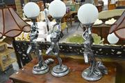 Sale 7981A - Lot 1020 - 3 Dancing Lady Lamps with Ball Shades