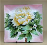 Sale 8270 - Lot 68 - A large enamel square dish decorated with a Peony, D 23.5cm