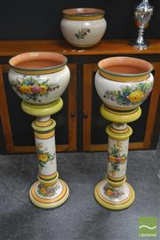 Sale 8262 - Lot 1018 - Set of Three Ceramic Planters on Two Plinths