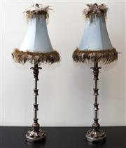 Sale 8310A - Lot 19 - A pair of Italianate table lamps with composite and glass columns and duck egg blue shades with feathers, height 88cm
