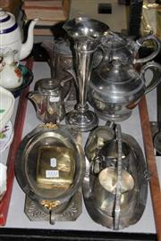 Sale 8340 - Lot 52 - Silver Plated Trumpet Vase with Other Plated Ware incl Teapots
