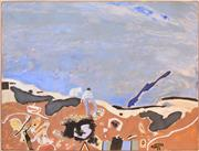 Sale 8394 - Lot 560 - Robert Juniper (1929 - 2012) - Untitled, 1981 (Figures in Landscape) 182 x 241cm