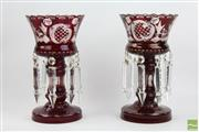 Sale 8508 - Lot 21 - Bohemian Ruby Red Glass Lustre Vases