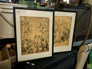 Sale 8622 - Lot 2020 - Pair of Norman Lindsay mono lithographs, 40 x 30.5cm, each (frame size)