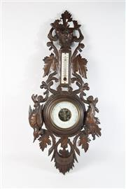 Sale 8747 - Lot 6 - Carved Oak Barometer L: 70cm
