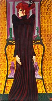 Sale 8992 - Lot 543 - Greg Irvine (1947 - ) - Woman In Black 159 x 82.5 cm (frame: 93 x 169 x 5 cm)