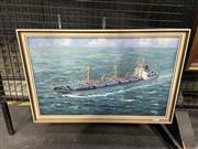 Sale 8995 - Lot 2024 - Takeshi Matsuzo Industrial Ship at Sea, 1967oil on canvas, 38 x 57cm (frame) signed and dated lower right