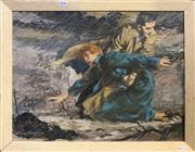 Sale 9016 - Lot 2038 - Charles Tompson A 1950s Drama oil on board,48 x 61cm (frame) signed