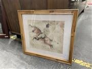 Sale 9082 - Lot 2085 - Chinese School Tang Emperor on Horse Back (based on wall relief, watercolour, frame: 41 x 45 cm, unsigned