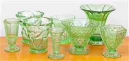 Sale 9103M - Lot 744 - A collection of green glass vases, tallest 20cm