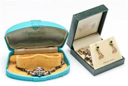 Sale 9144 - Lot 453 - Vintage Silver Marcasite Watch in Box (not working) together with Silver Jewellery