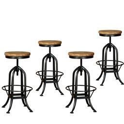 Sale 9216S - Lot 29 - A set of four adjustable metal bar stools with reclaimed elm tops, Height 62cm x Width 41cm x Depth 41cm