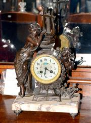 Sale 8015A - Lot 52 - 19th Century French Art Noveau Spelter and Marble Mantel Clock