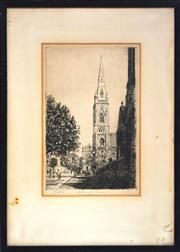 Sale 8325A - Lot 185 - Victor Cobb (1876 - 1945) - Scots Church, Collins Street 29 x 19cm