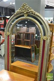 Sale 8328 - Lot 1056 - Large Arch Top French Style Bevelled Edge Mirror (110x190)