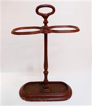 Sale 8362A - Lot 17 - An early French cast iron stick stand painted red, size; 63 x 40 x 19 cm