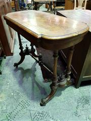 Sale 8653 - Lot 1032 - Victorian Burr Walnut Card Table, the hinged top with D shaped ends, on double turned column supports joined by a stretcher