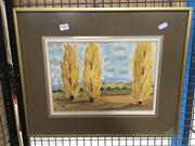 Sale 8759 - Lot 2101 - K.Turner - Autumn Poplars, watercolour, SLR -