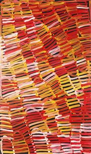 Sale 8786 - Lot 553 - Minnie Pwerle (1922 - 2006) - Body Painting 150 x 90cm (stretched and ready to hang)