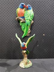Sale 9034 - Lot 1009 - Painted Composite Parrot Figurine (H26cm) together with painted wall hanging of Parrot Lovers