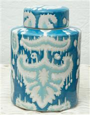 Sale 9066H - Lot 20 - An amalfi aga jar in teal and turquoise paisley design. H 20cm