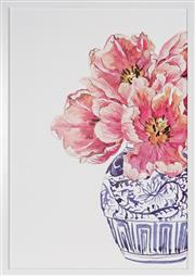 Sale 9069 - Lot 2023 - A decorative print of pink flowers in an Oriental vase, framed size 71 x 51cm