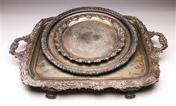 Sale 9110 - Lot 308 - Large silver plated raised serving tray (65cm x 44cm) together with 2 circular examples (Dia 42cm and 30cm)
