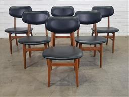 Sale 9151 - Lot 1281 - Set of six vinyl upholstered timber frame dining chairs (h83 x d50cm)