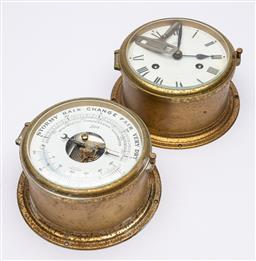 Sale 9170H - Lot 68 - A Schatz ships barometer and clock with key, Diameter 18cm