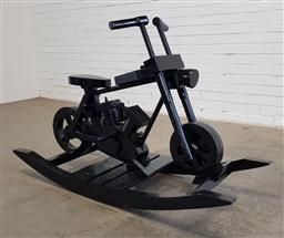 Sale 9166 - Lot 1085 - Painted timber rocking minibike (h84 x w143 x d51cm)
