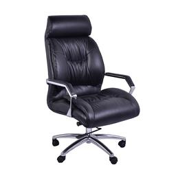 Sale 9245T - Lot 81 - A vintage style adjustable office chair made from genuine worn coal coloured hand-aged leather, on silver swivel metal base with cas...