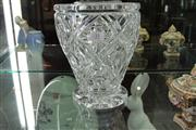 Sale 7977 - Lot 31 - Large Webb Corbett cut crystal vase with frog detail