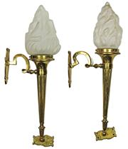 Sale 8040 - Lot 83 - Early 20th Century Pair of Brass Wall Torches