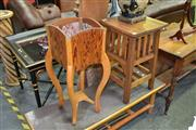 Sale 8115 - Lot 1036 - Timber Plant Stand & Tiered Timber Table