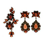 Sale 8173F - Lot 353 - BOHEMIAN GARNET EARRINGS AND BROOCH; double cluster drop earrings and brooch set with cabochon and faceted garnets in silver.