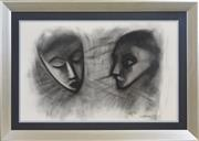 Sale 8339A - Lot 564 - Robert Dickerson (1924 - 2015) - Two Faces, 1960 64 x 100cm