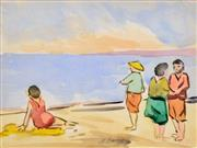 Sale 8382 - Lot 581 - Maude Burge (1865 - 1957) - By the Beach 19 x 25.5cm
