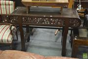 Sale 8402 - Lot 1006 - Chinese Carved Fruitwood Side Table, the inward curved sides and apron with grape vines