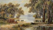 Sale 8901 - Lot 559 - Attributed to John William Curtis (c1839 - 1901) - On Lake Tyers 30.5 x 50.5 cm