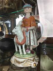 Sale 8730B - Lot 52 - Ceramic Figure of a Girl with a Goat bearing the Meissen Mark H: 23cm
