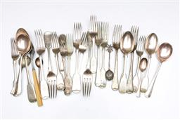 Sale 9098 - Lot 200 - Collection of EPNS cutlery incl. shell thumb grip examples