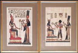Sale 9102 - Lot 1065 - Pair of Gilt Framed Egyptian Paintings on Cloth (frame size - 74x55cm)
