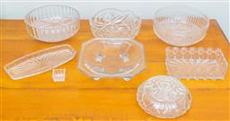 Sale 9103M - Lot 745 - A collection of cut and pressed glasswares including salad bowls and sandwich plates etc, Diameter of largest bowl 22cm