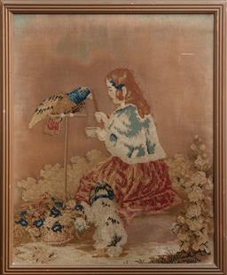 Sale 9120H - Lot 348 - An Antique style framed tapestry of a lady and parrot. Frame size 58cm x 49cm