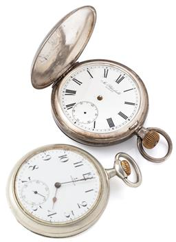 Sale 9140 - Lot 335 - TWO ANTIQUE OMEGA POCKET WATCHES; an open face with white dial, Arabic numerals, subsidiary seconds, stem wind and set, case diam. 5...