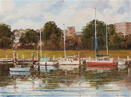 Sale 9139 - Lot 2031 - John Hingerty Moored Boats in the Harbour, oil on board 40 x 60, 64 x 75 x 5 cm, signed lower right -