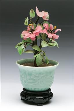 Sale 9144 - Lot 422 - Small glass tree in glazed ceramic jardiniere on timber stand (H:23.5cm)