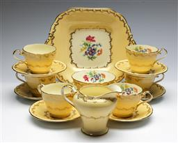 Sale 9168 - Lot 448 - An Aynsley six person tea suite inc sugar, creamer and tray
