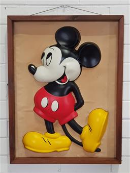 Sale 9188 - Lot 1005 - Vintage framed Mickey Mouse wall relief, Circa 1950s (h:66 x w:51cm)